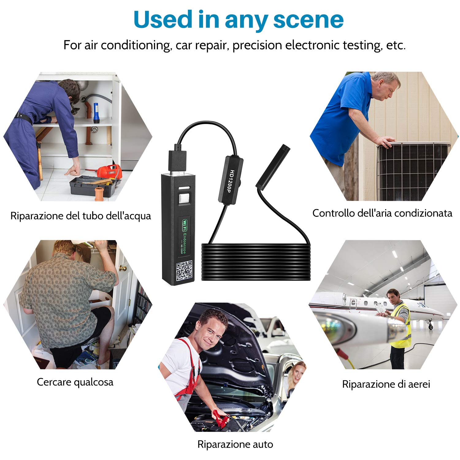 Tablet IP68 Waterproof 5 Meters Semi-Rigid Cable for Android and iOS Windows Mac USB Wireless WiFi 2.0 Megapixel 1200P HD Borescope with 8 LED Lights ieGeek WiFi Endoscope