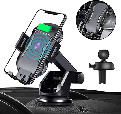 Auto Sensor Black Air Vent Phone Holder Compatible with iPhone 11 Pro| 11 Max| X-Max|XS|XRX|8|8+ Samsung Galaxy Auto Clamping Windshield Wireless Car Charger Mount Qi Fast Charge Dashboard