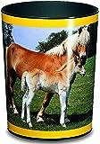 Läufer 26557 Motiv-Papierkorb Pferd und Fohlen, 13 Liter Mülleimer, perfekt für das Kinderzimmer, rund, stabiler Kunststoff