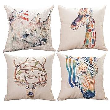 Amazon.com: Funda de cojín HAIWEN de lino y algodón con ...