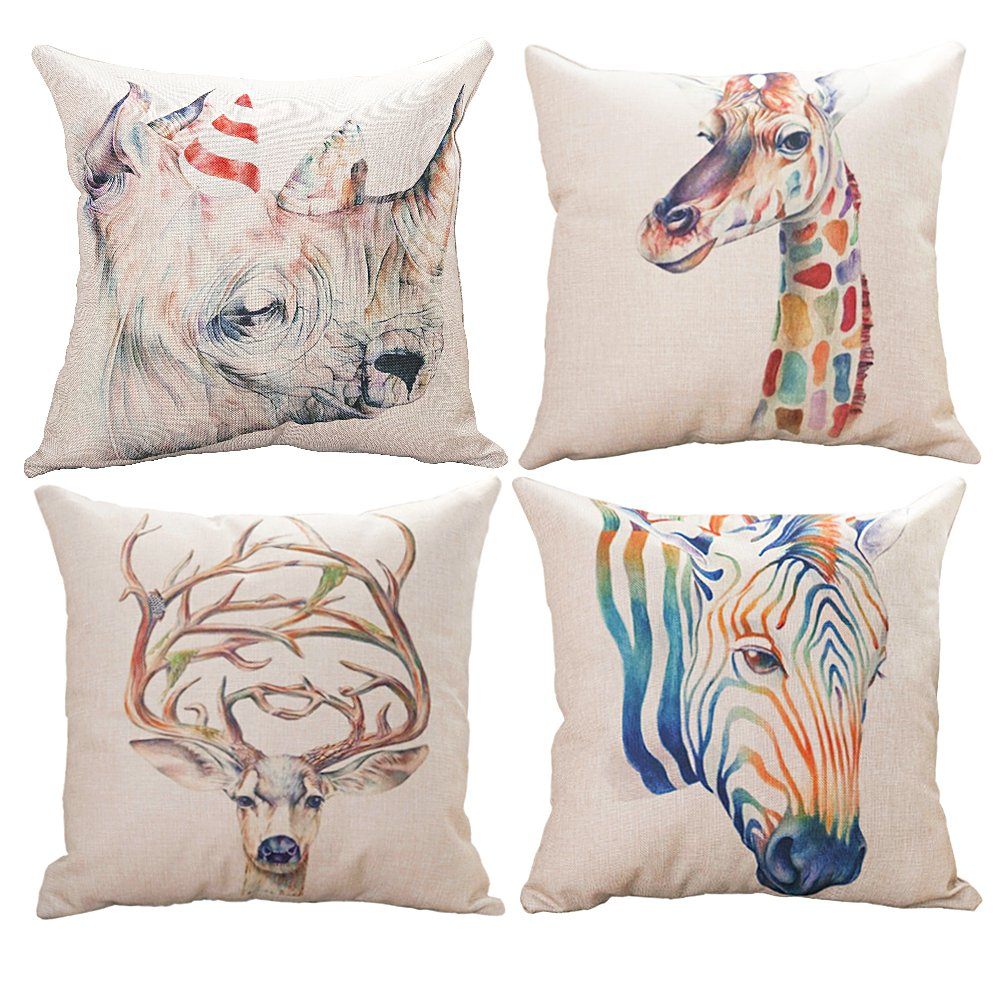 HAIWEN Decor Throw Pillow Cushion Cover for Sofa & Bed Home Decor Design,4 Packs Cushion Cases,Cotton Linen,18x18 inch Couch Cushion Covers,Colorful Animals,Giraffe +Zebra+Rhinoceros+Deer