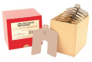 """Stainless Steel Slotted Shim Shop Kit, Size A, 2"""" x 2"""" (Pack of 80)"""