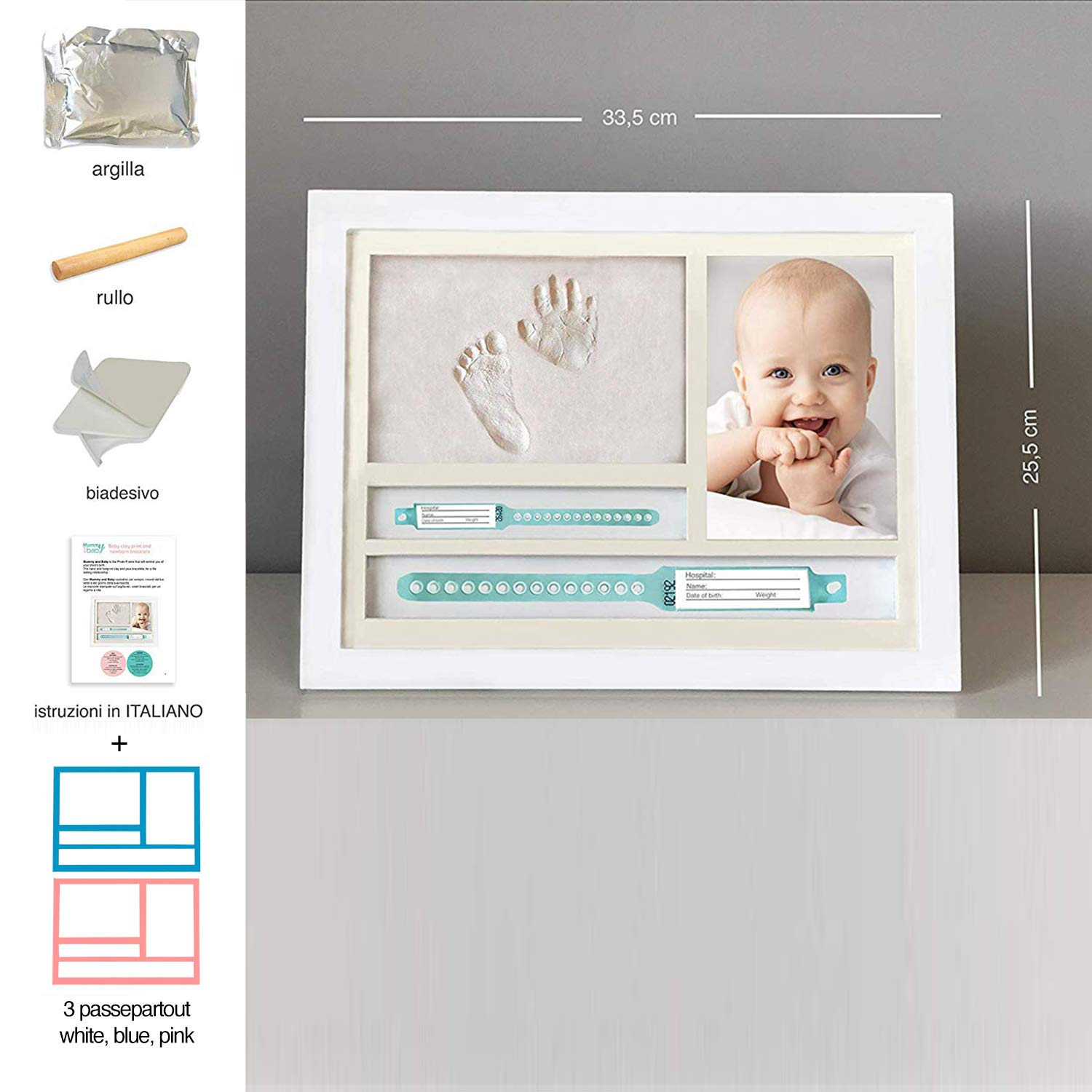 keepsake Baby Photo Album for Shower Registry MUBY Box Decorations for Room Wall Nursery Decor Baby Handprint and Footprint Photo Frame kit with NEWBORN BRACELETS SPOTS for Girls and Boys