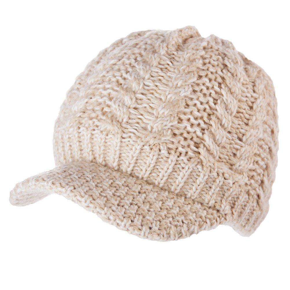 SIGGI Knit Visor Beanie Winter Hat Women 100% Acrylic Newsboy Cap Fleece Lined CM89202-2
