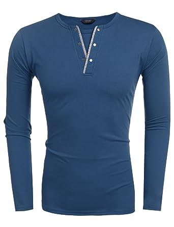 super popular be876 ab141 Coofandy Herren Langarmshirt/Kurzarm Regular Fit mit Knopfleiste  V-Ausschnitt Basic T-Shirt männer Baumwolle,schwarz und weiß