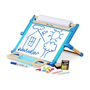 """Melissa & Doug Deluxe Double-Sided Tabletop Easel, Arts & Crafts, Sturdy Wooden Construction, 42 Pieces, 17.5"""" H x 20.75"""" W x 2.75"""" L"""