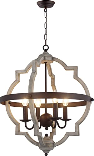 20 in. W. Transitional 4-Light Hall or Foyer Light Fixture Stardust Two Toned Finish Wood Metal Chandelier Industrial Farmhouse Open Quatrefoil