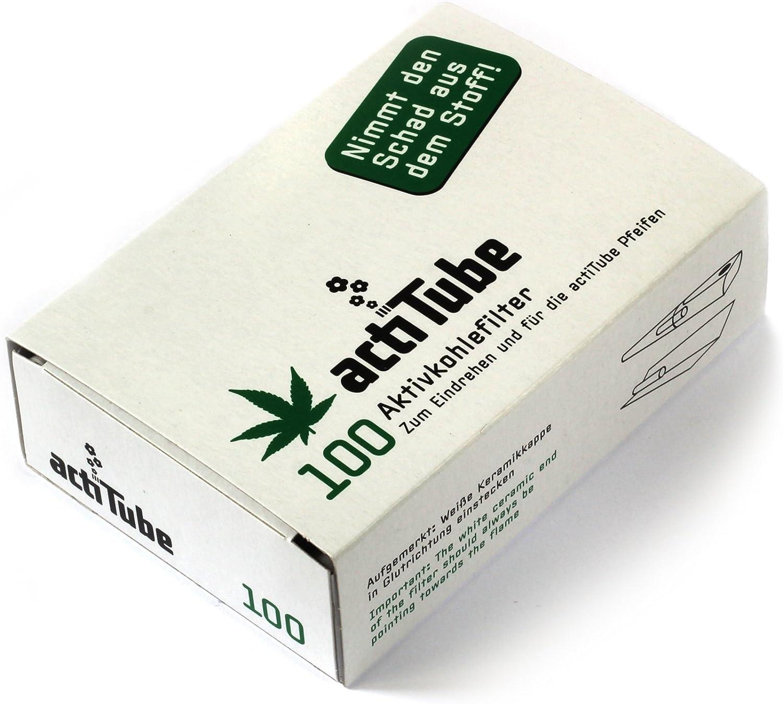 actiTube 500 Filtro de carbón Activo 5x 100er Box Pantalla 9mm eindreh Filtro Silbato en ACTI Tube Tune Filtro Tips Filtro Tips Carbón Activo
