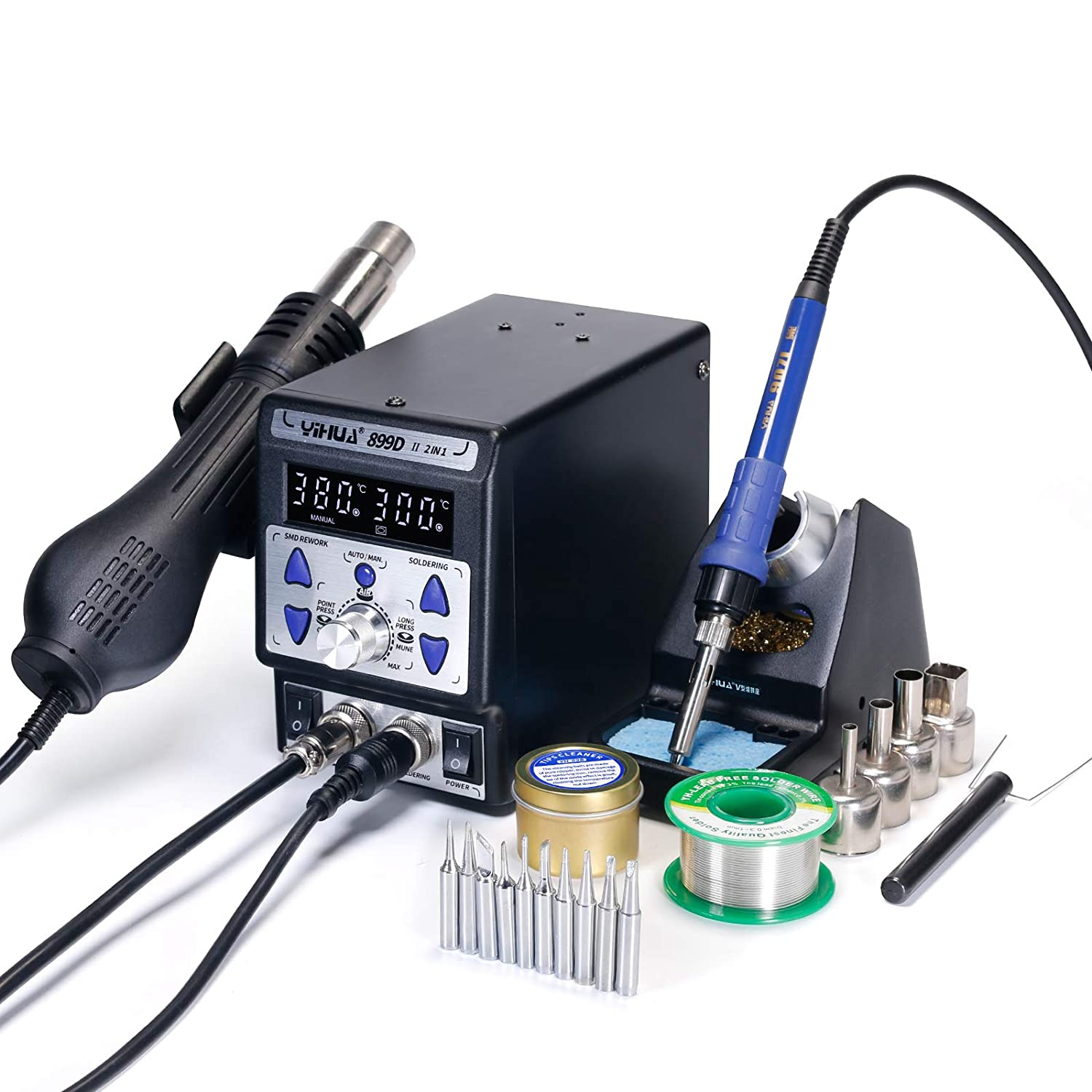 YH-899D II 2 in 1 Upgrade Constant Temp. Hot Air Rework Soldering Iron Station New Panel Design,11 Iron Tips + 4 nozzles YIHUA