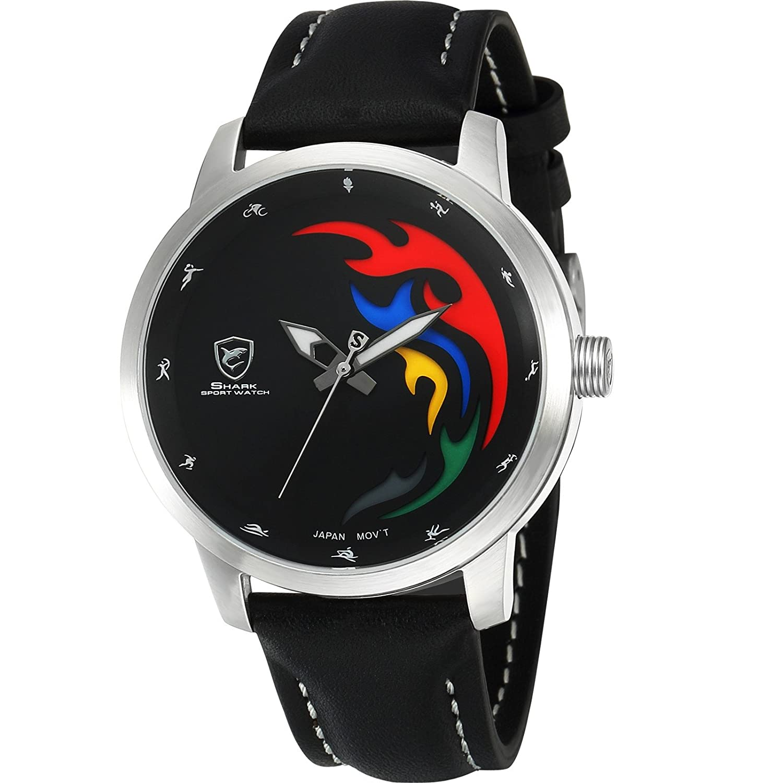 Shark Herren Armbanduhr Analog Quarz Limitierte Auflage Schwarz Lederband