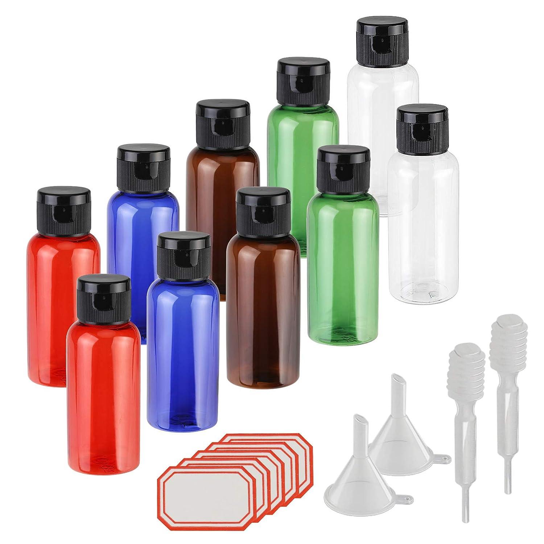Flacon vide de voyage, KAKOO Ensemble 10 pièces Bouteille plastique de toilette avion Multicolore liquide conteneurs avec flip Bouchons pour cosmétiques,lotion,shampoing,gel douche,crème