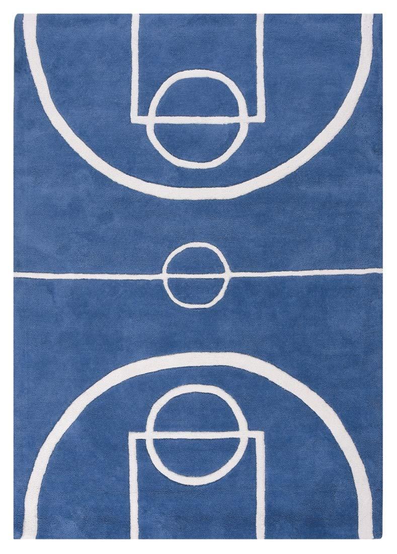 Lilipinso Tapis Coton Basketball Court Bleu