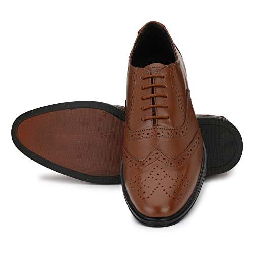 215d871594cd NOVA SHOES Men's Tan Handcrafted Classic Modern Wingtip Leather Lace Up  Brogue Dress Formal Shoes -