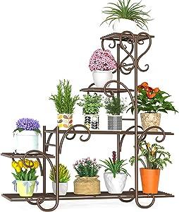 Elekin 8 Tier Metal Shelves Flower Pot Plant Stand Display Indoor Outdoor Garden Patio Plant Rack,Brown(8-10 Flowerpots)