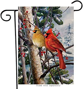 Artofy Winter Welcome Decorative Small Cardinals Garden Flag, Christmas House Yard Outside Snow Red Birds Berry Decor,Xmas Holiday Home Decoration Seasonal Outdoor Flag Vertical Double Sided 12 x 18