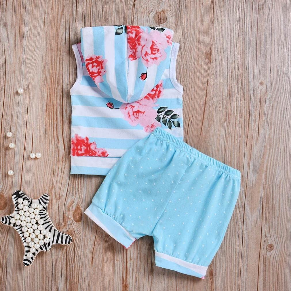 Efaster Toddler Baby Girl Boy Sleeveless Hooded Striped Floral Tops+Shorts Set
