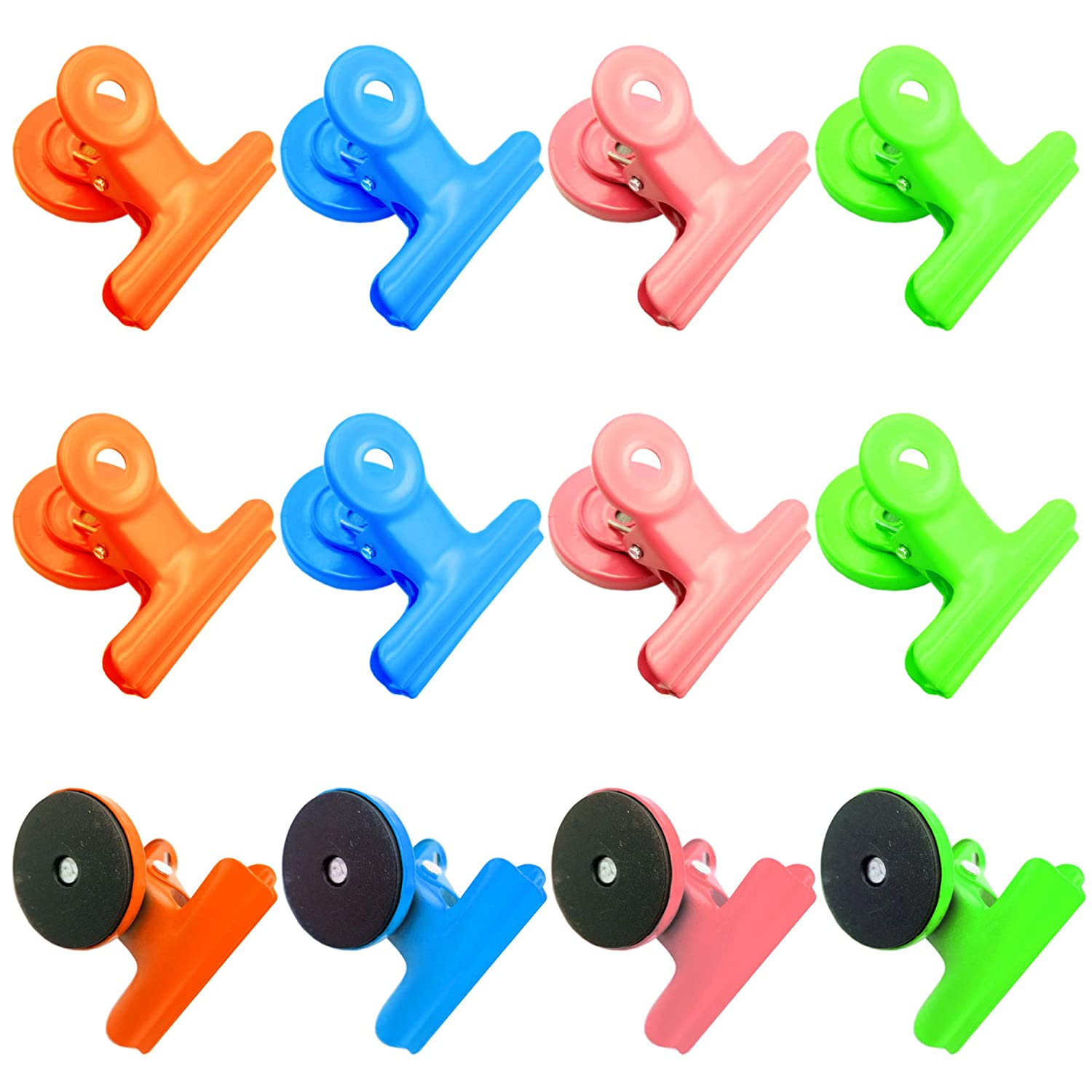 12-Piece Magnetic Clips, Magnet Paper Metal Clamps, Refrigerator Whiteboard Wall Fridge Magnetic Memo Note Clips Photo File Clamps, for Kitchen Classroom Office