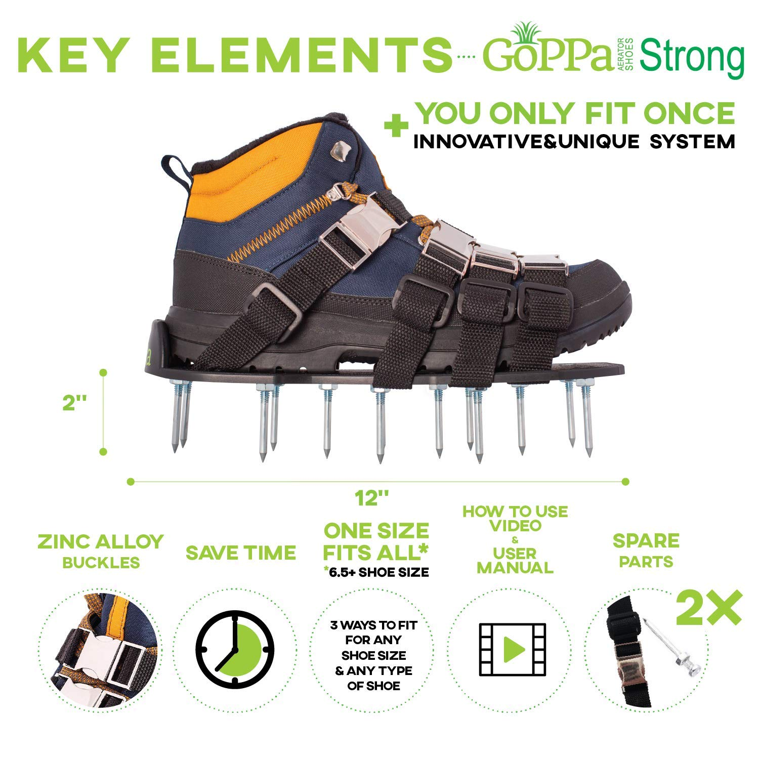 GoPPa Lawn Aerator Shoes – Heavy Duty Lawn Aerator Sandal, You only FIT Once. Ready for aerating Your Yard, Lawn, Roots & Grass – Strong Design by GoPPa (Image #6)