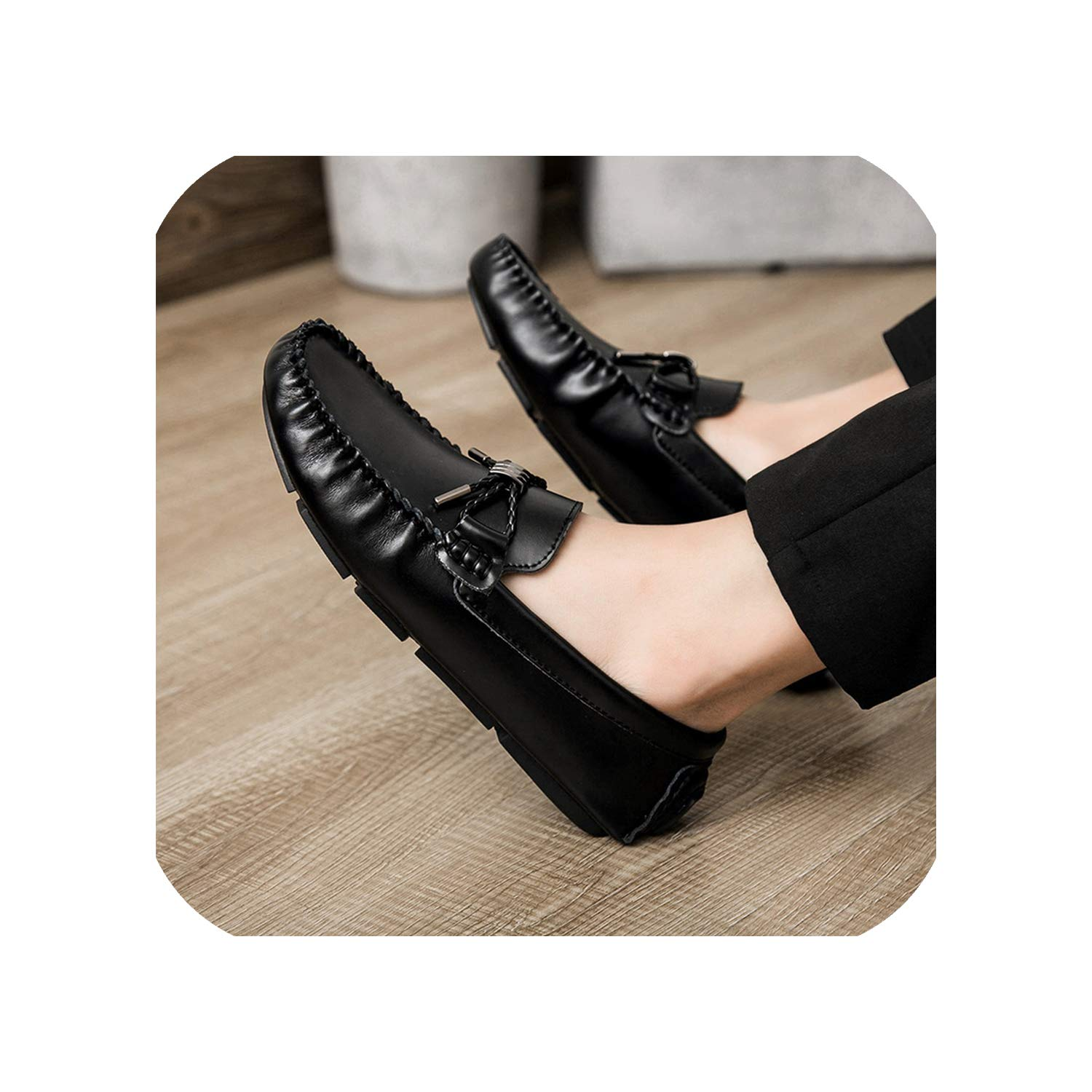 Black Leather Casual shoes Men's Breathable Solid color Peas shoes and Wild Driving