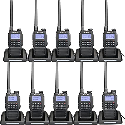 Retevis RT87 2 Way Radios Long Range IP67 Waterproof 5 Miles VHF UHF Dual  Band 128CH FM Radio Emergency Alarm Two Way Radio Rechargeable (10 Pack)