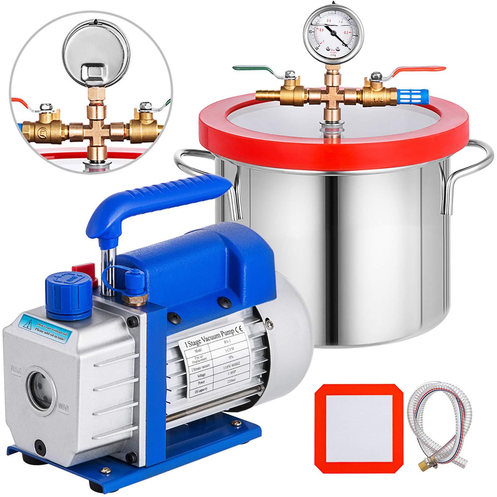 Bestauto 1.5 Gallon Vacuum Degassing Chamber Kit Stainless Steel Degassing Chamber 5.7L Vacuum Chamber Kit with 3 CFM 1/4 HP Vacuum Pump HVAC(3CFM Vacuum Pump + 1.5 Gallon Vacuum Chamber) by Best In Auto