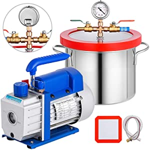 Bestauto 1.5 Gallon Vacuum Degassing Chamber Kit Stainless Steel Degassing Chamber 5.7L Vacuum Chamber Kit with 3 CFM 1/4 HP Vacuum Pump HVAC(3CFM Vacuum Pump + 1.5 Gallon Vacuum Chamber)