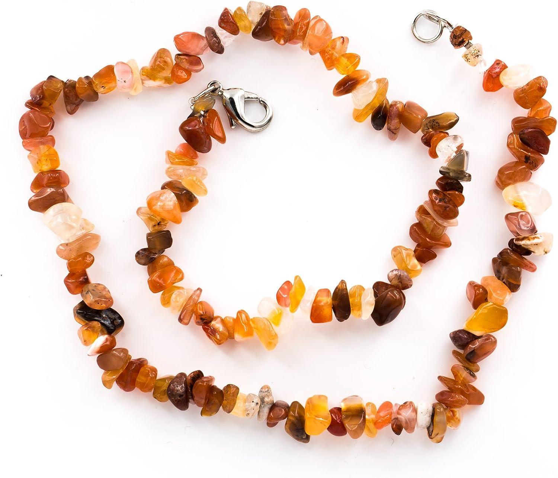 Taddart Minerals – Collar de Piedra Preciosa Natural de cornalina con 45 cm de Longitud, Hecho a Mano