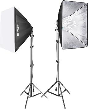 Neewer 1600W Foto Estudio Video Softbox Kit de Iluminación,(2)Softbox 50 x 70cm,(2)4 Zócalos Soporte de Luz,(8)45W Bombilla de luz,(2)200cm Soporte de Luz,(2)Estuche Portátil para Disparos de Retratos: Amazon.es: Electrónica