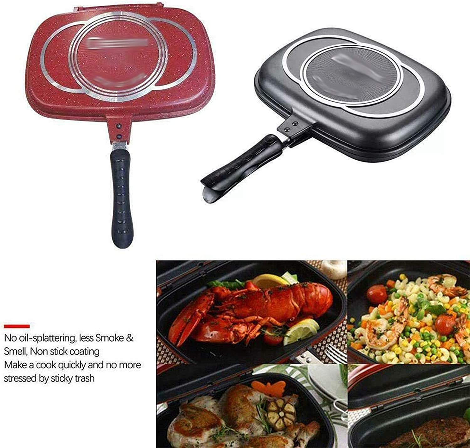 TIFALEX 1x Durable Aluminum Frying Pan Die Casting Double Sided ...