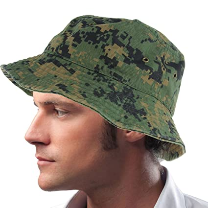 9414f78a66a Image Unavailable. Image not available for. Color  Color digital Camo bucket  Hat Cap Boonie 100% Cotton Fishing Military ...