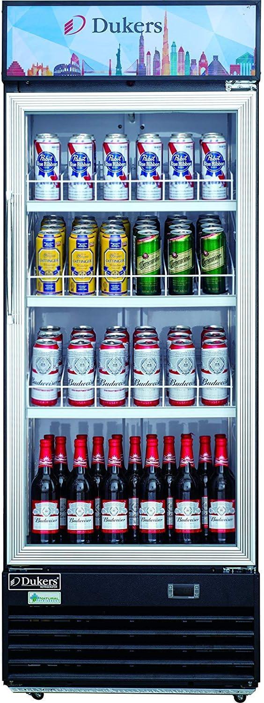Dukers DSM-12R 11.4 cu Commercial Single Glass Swing Door Merchandiser Refrigerator ft