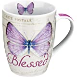 "Botanic Butterfly Blessings Purple ""Blessed"" Mug - Jeremiah 17:7"