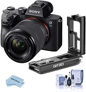 Sony Alpha a7 III 24MP UHD 4K Mirrorless Digital Camera with FE 28-70mm Lens - with Gitzo Aluminum L-Bracket a7R III & a9, Cleaning Kit, Microfiber Cloth