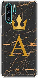 Okteq Clear TPU Protection and Hybrid Rigid Clear Back Cover Case Printed Compatible with Huawei P30 pro- Golden A letter black marble By Okteq