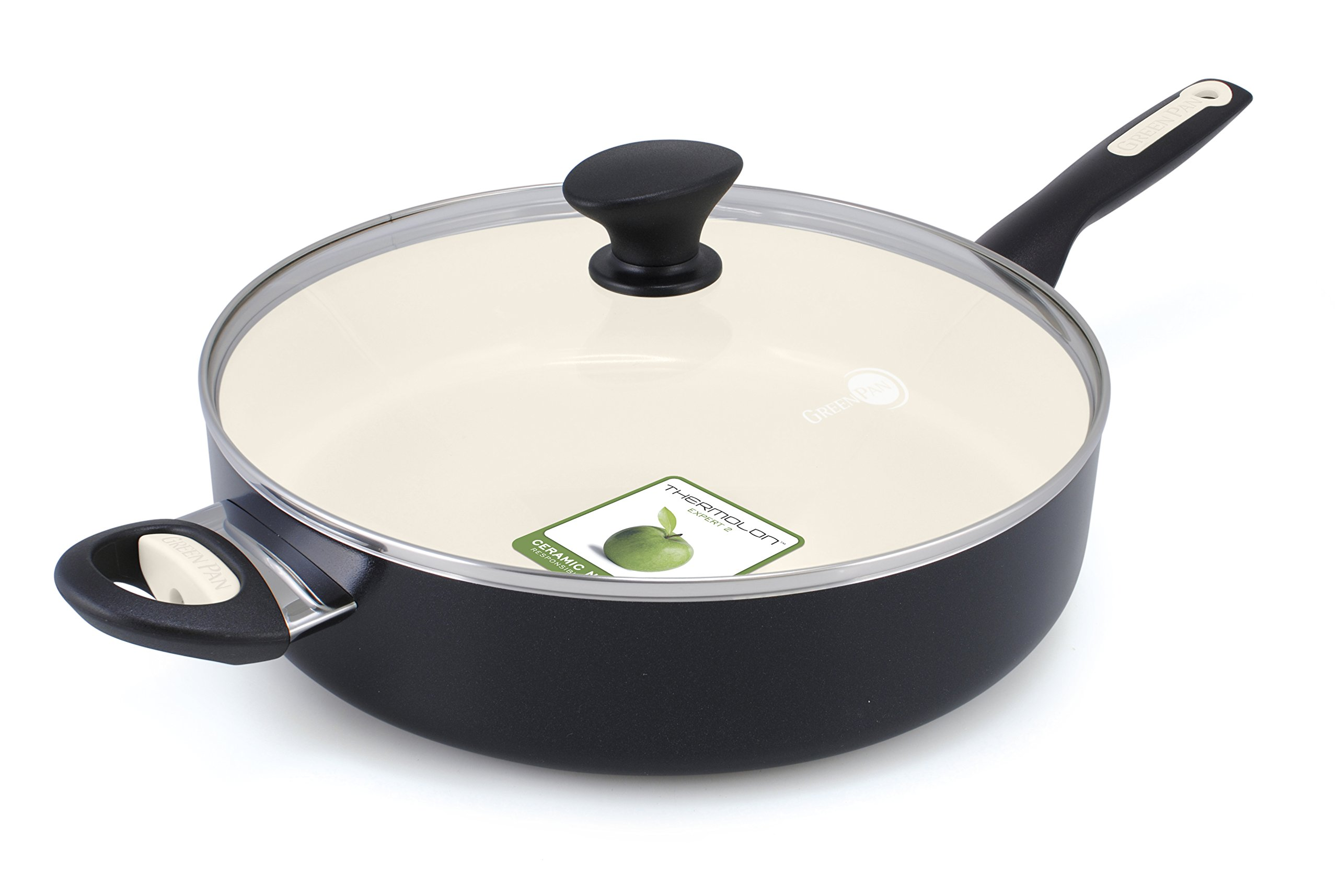 GreenPan Rio 5QT Ceramic Non-Stick Covered Skillet with Helper Handle, Black - CW000058-003 by GreenPan