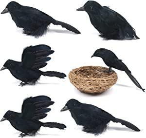 Darnassus 6PCS Halloween Crows Black Realistic Crows Artificial Feathered Raven Prop with Bird's Nest for Halloween Decor Birds