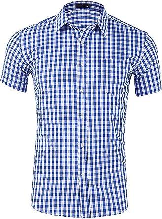 Evelure Camisa Hombre Manga Corta a Cuadros Multicolores Botón Bolsillo Casual: Amazon.es: Ropa y accesorios