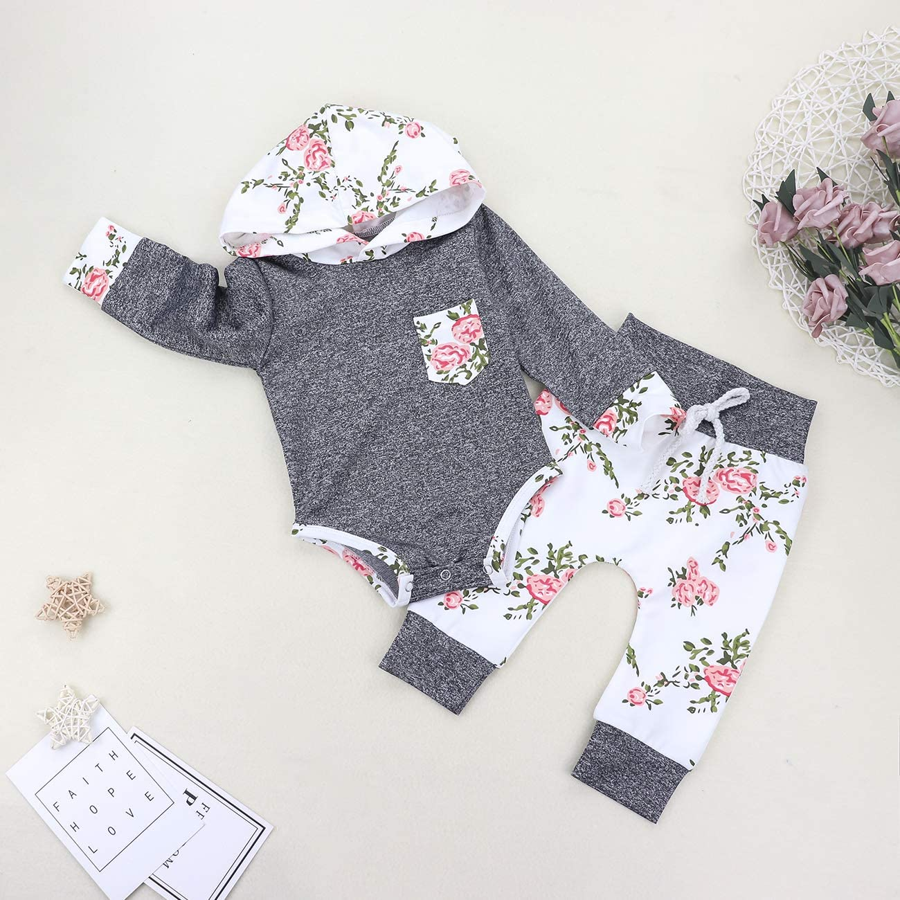 Headband 3pcs Outfit Newborn Baby Girls Clothes Cute Girl Baby Clothes Ruffles Romper Floral Pant