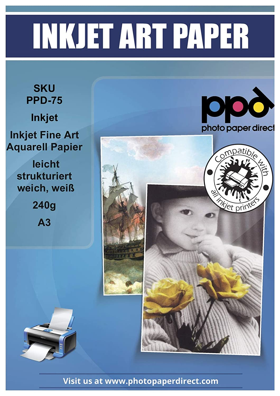 PPD A3 Inkjet Arte fino Acuarela Papel, ligera rejilla, suave, color blanco 240 g/msup2; - 25 hojas