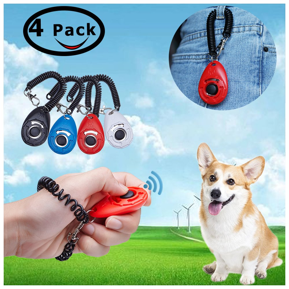 Button Pet Training Clicker with Wrist Strap 4 Piece 4 Color Pack