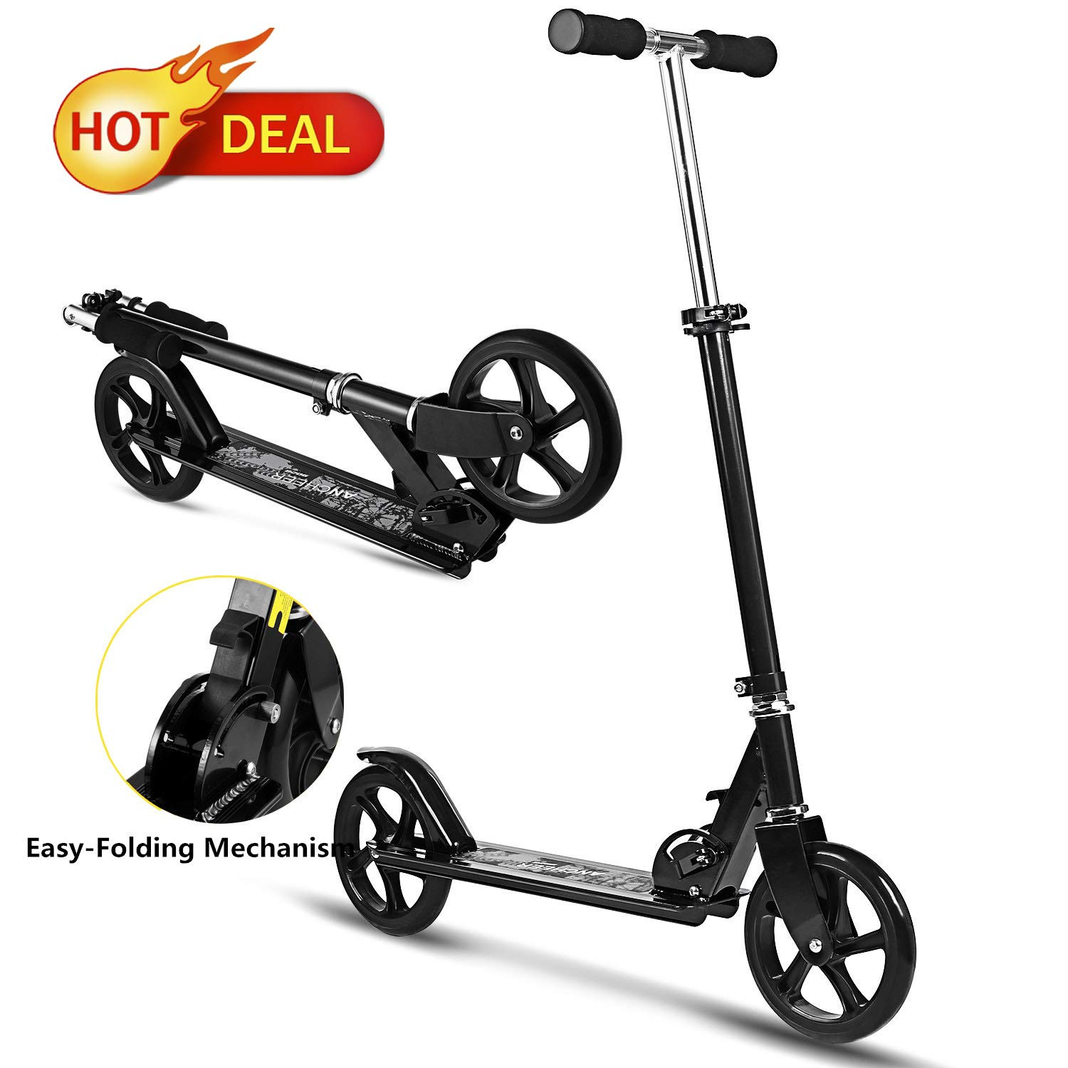 Juane Folding Kick Scooter with 3 Levels Adjustable Height 8 inches Big Wheels Rear Fender Brake Max Load 200LB Age 12 up for Adults Teens Kids (Black) by Juane