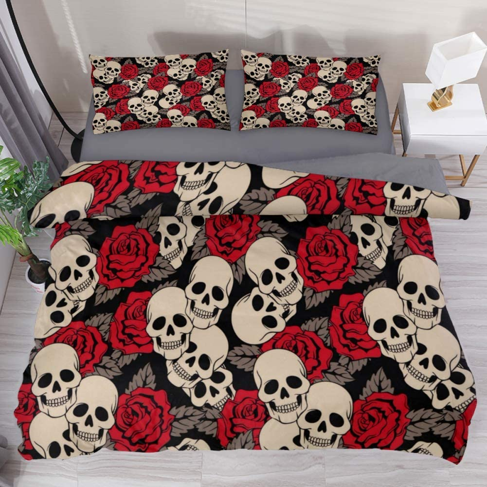 Amazon Com Lvshen Skull Roses Bedding Sets Queen Size 3 Pieces Printed Sheets Bed Coverlet Duvet Cover Set With 2 Pillow Cases Shams For Home Women Men Home Kitchen