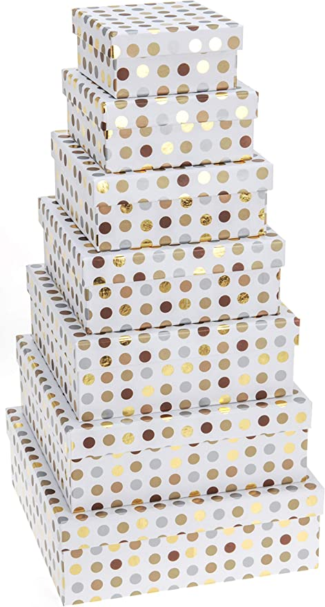 Caja De Cartón para Regalo Decorada. Set de Cajas Decorativas con 7 Unidades Diseño De Puntos con Colores Brillantes: Oro, Plata y Bronce: Amazon.es: Hogar