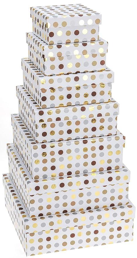 Caja De Cartón para Regalo Decorada. Set de Cajas Decorativas con 7 Unidades Diseño De