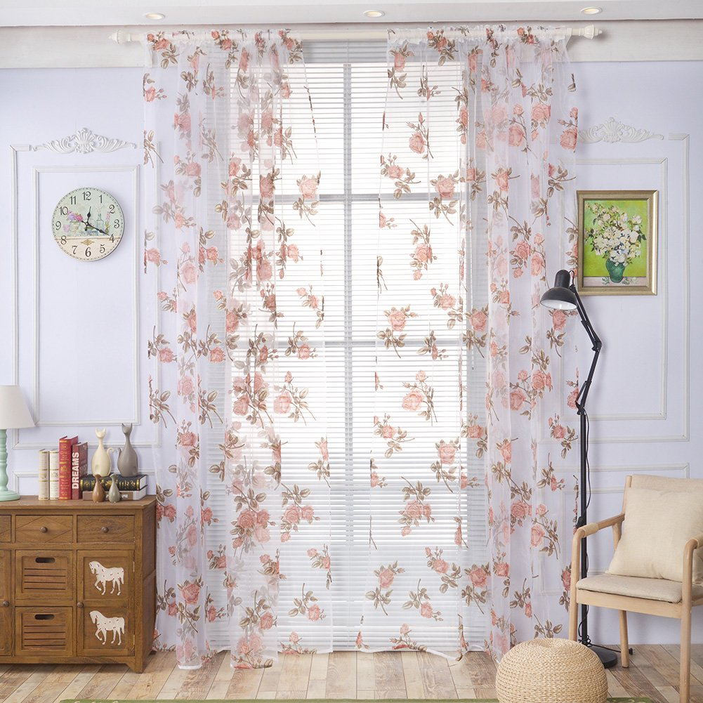 Sunsoaruk Romantic Rose Sheer Window Curtain Panel Voile Tulle Curtains for Bedroom Living Room Home Decoration