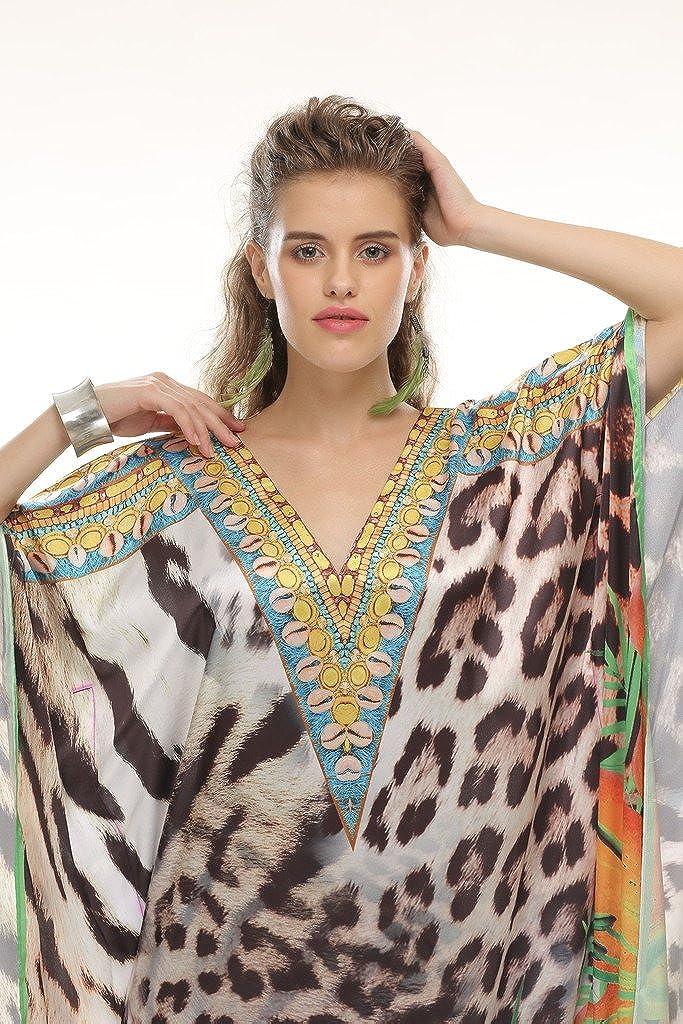 20f9139ef4 Amazon.com: D G PRINTS FAB Women's Turkish Kaftan Beachwear Swimwear Bikini  Cover ups Beach Dress DG-48: Clothing