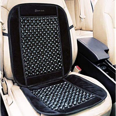"Zento Deals Black Wooden Beaded Plush Velvet Seat Cover Premium Quality Ultra Comfort Massage Cool Car Seat Cushion 35""x17"": Automotive"