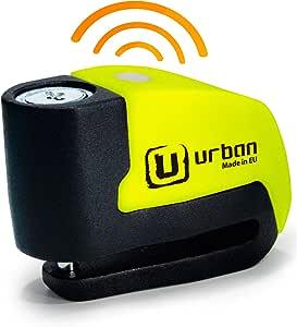urban UR6 Candado Antirrobo Disco con Alarma+Warning 120dBA, 6 mm, Made In EU, Amarillo Flúor, Única