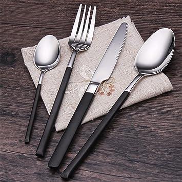 4EVERHOPE 4 Piezas Cuberteria, Acero Inoxidable 304 Juego de Cubiertos Cuchillo Tenedor Cuchara Conjunto de vajilla de vajilla con Caja empaquetada (Negro): ...