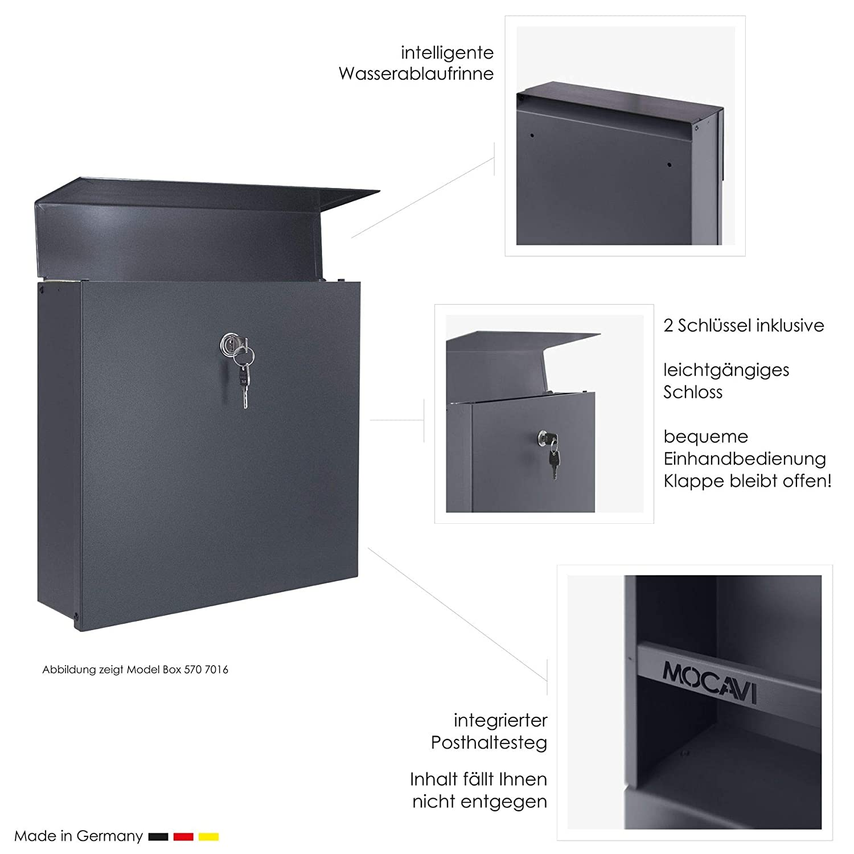 modern gro/ß RAL 7016 Edelstahl Hausnummer-//Namensschild Gravur anthrazit-grau MOCAVI Box 570 Design-Briefkasten inkl